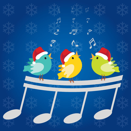 Christmas singing birds. Vector illustration of three little birds singing happily with musical notes and Christmas snowflake background.