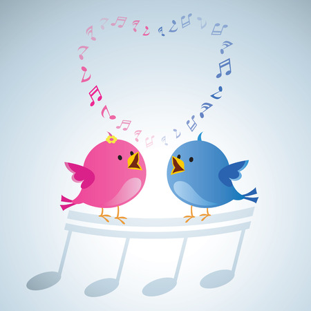 Amour des oiseaux chantant. Les oiseaux chanteurs avec des notes de musique forment en forme de coeur. Banque d'images - 77908760