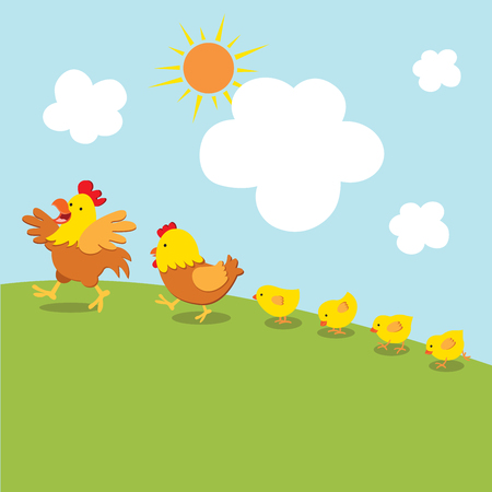 chick: Chicken family walk. Vector illustration of cock, hen and little chicks walk together under the sun. Illustration