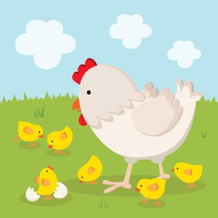 Mother hen and chicks Ilustração