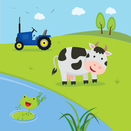 Farm. Cow with tractor with pond and frog jumping to the pond.