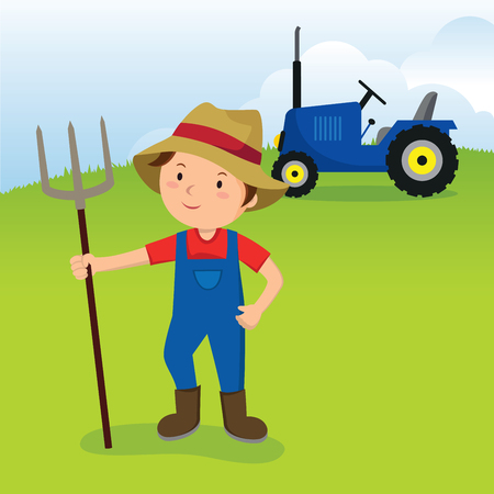 Farmer and tractor. Farmer with the pitchfork and tractor on farm field. Illustration