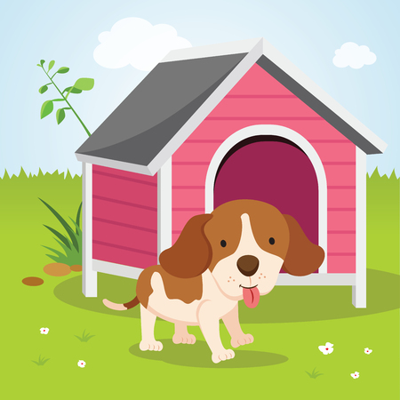 Cute puppy house. Happy dog by a house.