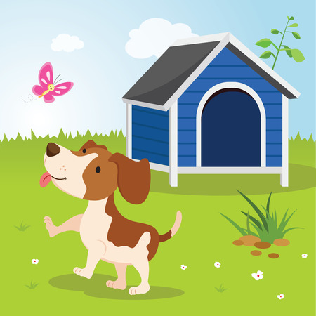 Cute puppy playing with butterfly. Happy dog with butterfly by a house. Illustration