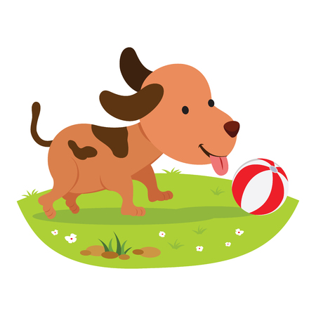 Little doggy. Cute puppy playing ball. Illustration
