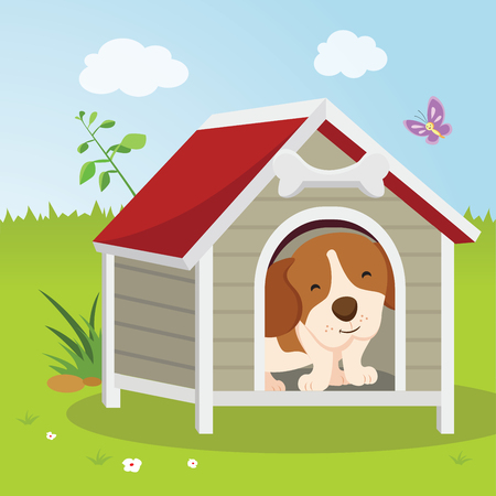 Puppy house. Happy dog sitting or resting in a house.