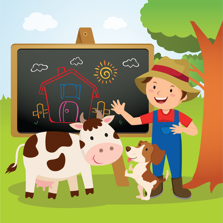 Farm animal school. Cheerful farmer gesturing with his farm dog and dairy cow.