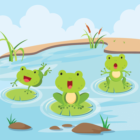 Little frogs in the pond. Cute little frogs having fun in the pond. 일러스트