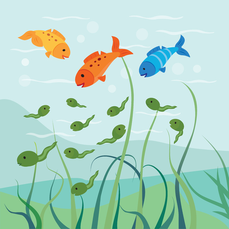 webbing: Tadpoles and fish. Hungry fish eats some of the tadpoles.
