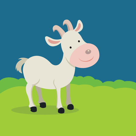 Goat smiling. Vector illustration of a mountain goat.