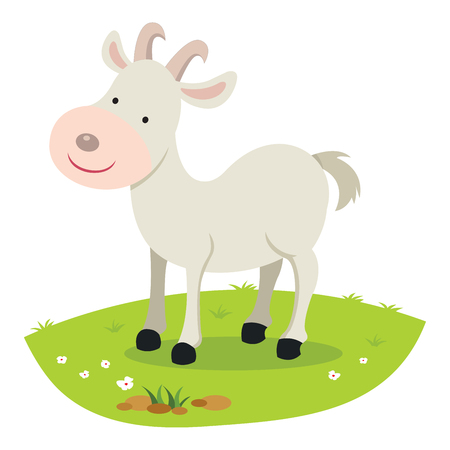 Goat. Vector illustration of a goat standing on the grass smiling.