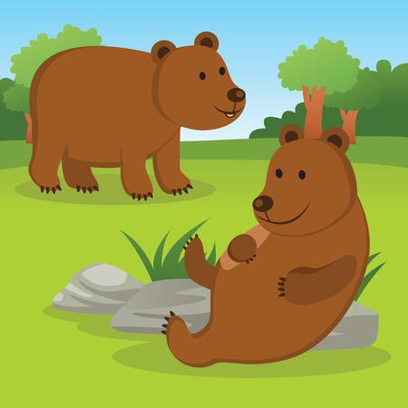 Bears. Two friendly brown bears. Illustration