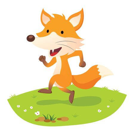 Fox. Happy fox running.