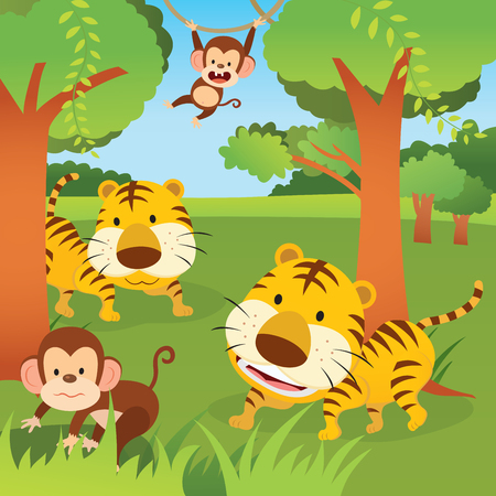 Jungle animals. Vector illustration of two monkeys and tigers in the jungle or forest.
