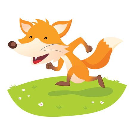Smiling fox. Happy fox running and having fun.