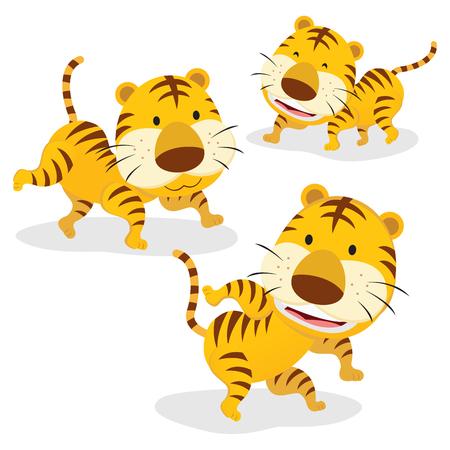Three tigers. Three funny cartoon tigers isolated on white background. Illustration