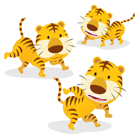 Three tigers. Three funny cartoon tigers isolated on white background. Illustration