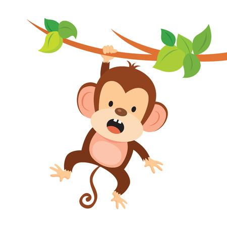 Mischievous monkey. Monkey hanging on the tree.