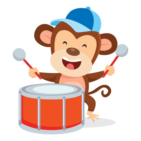 Monkey playing drum happily