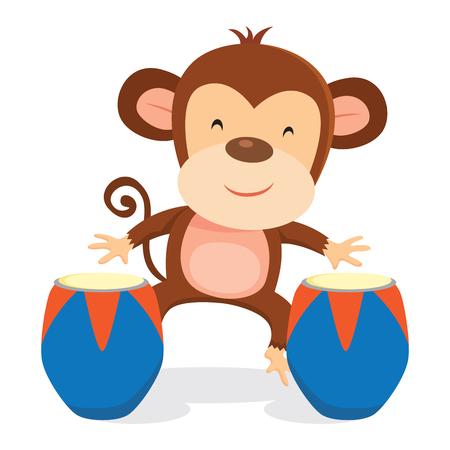 Monkey playing drum Illustration