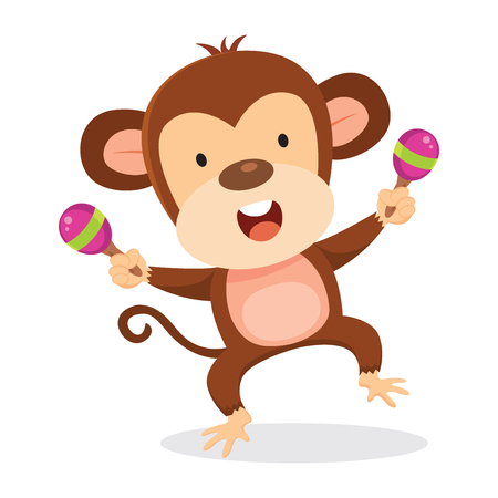 Monkey playing maraca 向量圖像