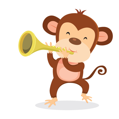 Monkey playing trumpet Illustration
