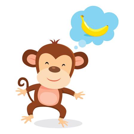Monkey thinking. Cute monkey thinking of banana.