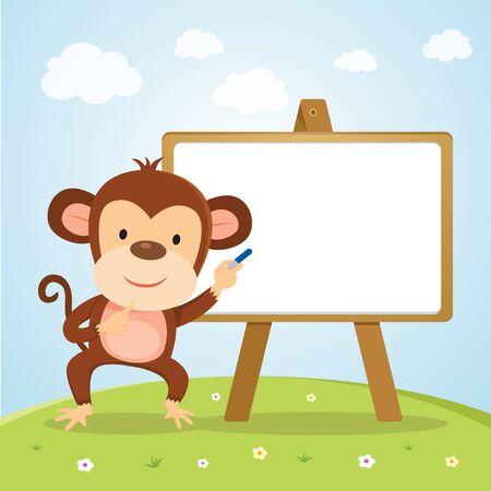 Affe mit Brett. Netter Affe, der Darstellung unterrichtet oder gibt. Standard-Bild - 82974534