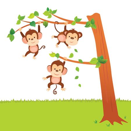 Monkeys swinging in a tree have fun activities. Иллюстрация