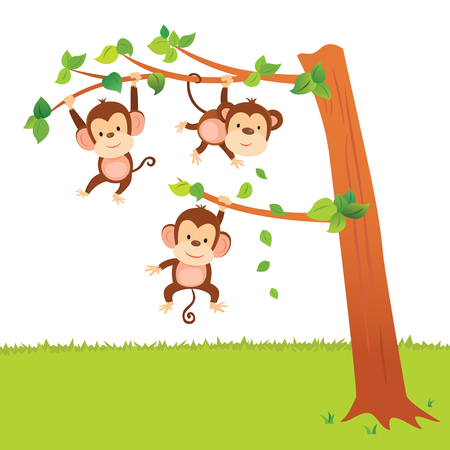 Monkeys swinging in a tree have fun activities. Illustration