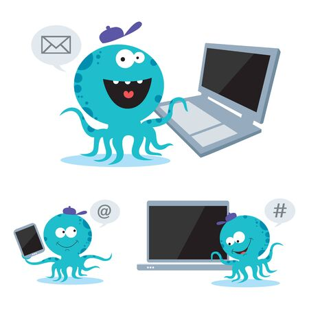 socializando: Octopus socializing. Octopus with vector set of modern digital devices.