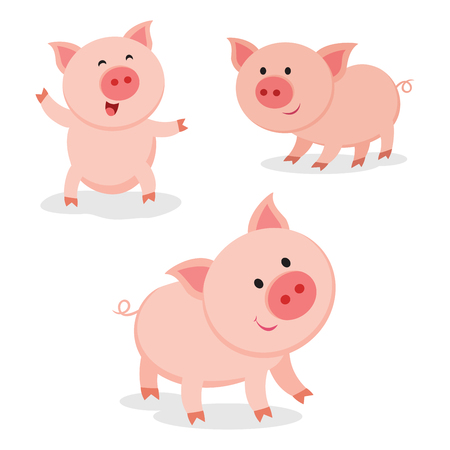 Cute pigs. Cheerful pig. Funny pigs vector. Illustration