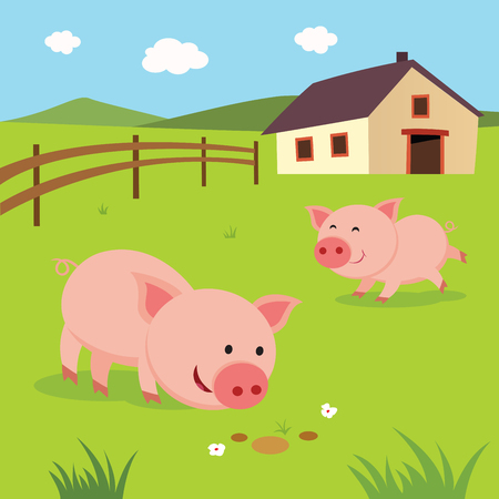 Farm. Happy pigs. Little pigs playing and having fun. Illustration
