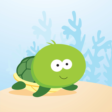 Cute turtle. Vector illustration of a turtle smiling. Illustration