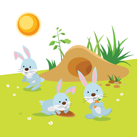 Rabbits Activities. Rabbits or bunnies having their outdoor activities.