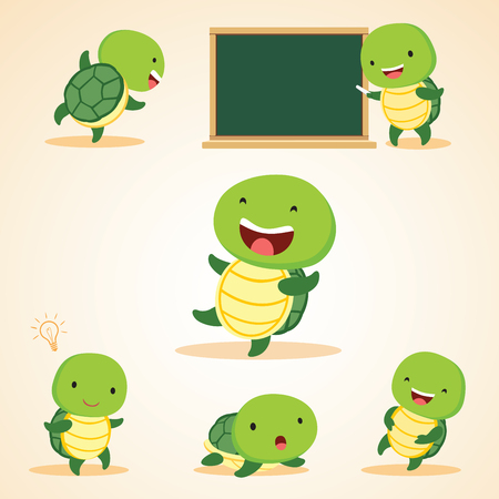 humorous: Humorous turtles. Vector illustration of turtles in different expressions.