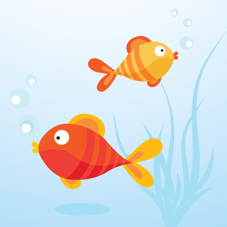 Cute fish. Vector illustration of two little fish in the water. Illustration