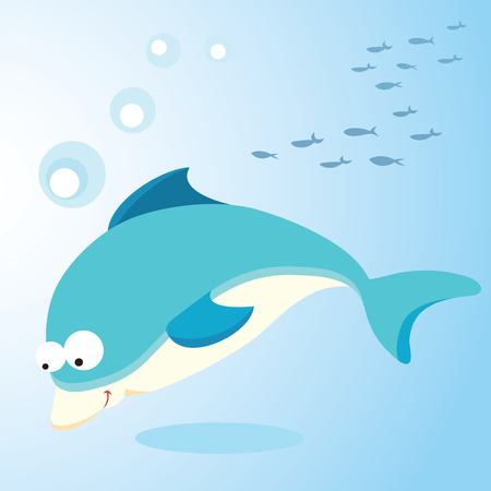 deep sea diver: Dolphin. Vector illustration of a dolphin diving. Illustration
