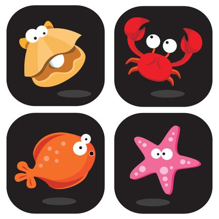 Sea creatures clip art. Vector illustration of colorful sea creatures.