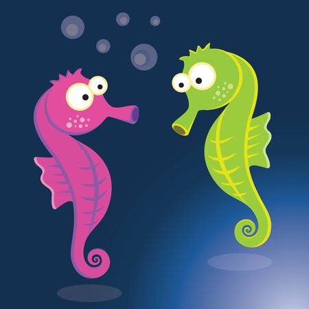 Seahorse. Vector illustration of colorful seahorse.