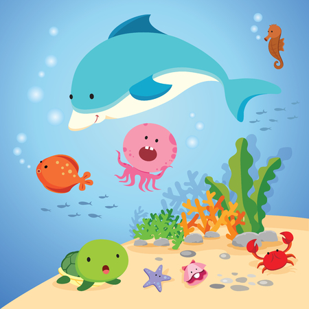 sea world: Underwater world. Vector illustration of colorful sea creatures.