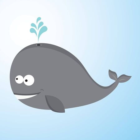 Whale. Happy baby whale spraying water.