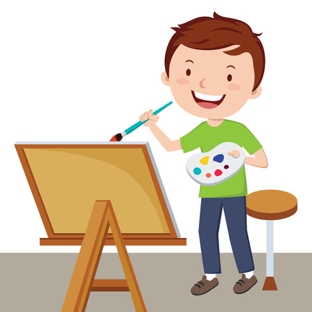 Artist painting. Vector illustration of a young man painting with color palette and paint brush. Illustration