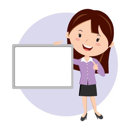 Woman holding whiteboard. Business presentation.