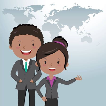specialized job: Business career. Career opportunities. Businessman and businesswoman with world map background.