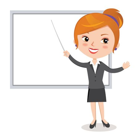 Business woman Pointing at Presentation Board.