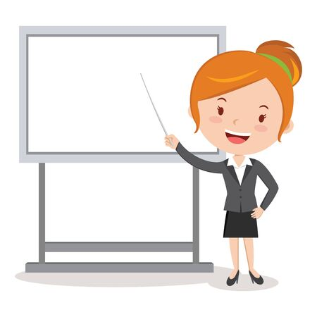 Business woman giving presentation. Vector illustration of businesswoman pointing at presentation board. Illustration