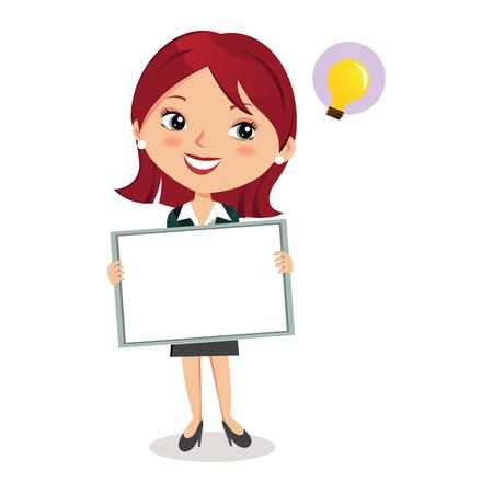Geschäftsfrau, die Brett hält Standard-Bild - 83626509