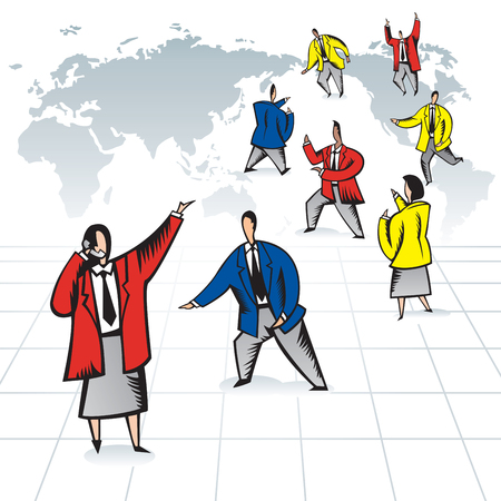 Global business team at work. Businessman and business women busy working against world map background. Çizim