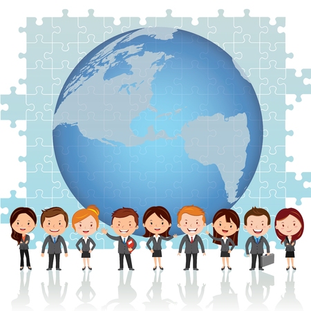 Global teamwork solution. Vector illustration of group of successful people standing against global and jigsaw puzzle background with confidence and grateful look.